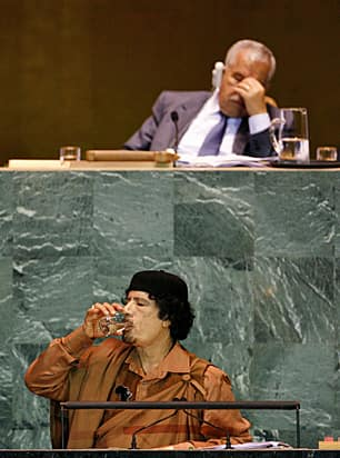 Libyan leader Moammar Gadhafi during his first ever address to the UN General Assembly in September 2009. He was supposed to speak for 15 minutes but went on for 96. (Reuters)