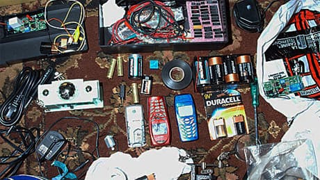 A courtroom evidence photo from the Toronto 18 case, released on Oct. 20, 2009, shows electronic equipment. The group was accused of a plot to create explosions at various Canadian sites.