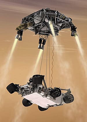 This artist's concept shows the sky crane manoeuvre during the descent of NASA's Curiosity rover to the Martian surface.