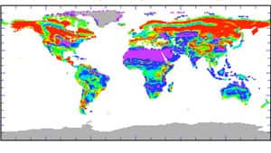 A NASA map shows ecological sensitivity for the next century, with purple representing regions only slightly vulnerable to change. The ecological stress increases through blue, green, yellow, and orange areas to red.