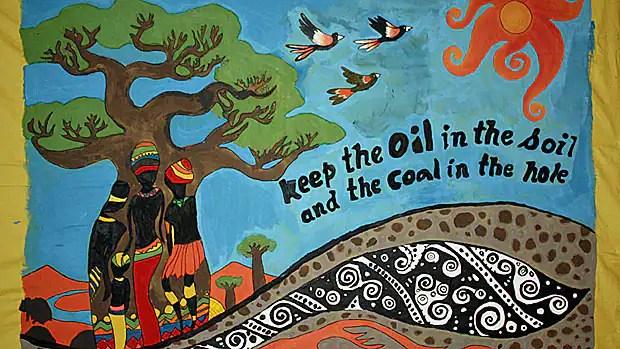 A painting by schoolchildren hangs at the UN Earth Summit Rio+20 in Rio de Janeiro, Brazil.