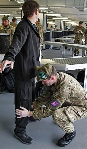 British military personnel have taken over the security check points at much of Olympic Park.
