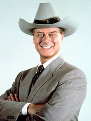 This 1981 file photo shows Larry Hagman in character as J.R. Ewing in the TV series Dallas.