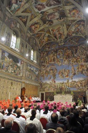 Pope Benedict XVI presides over the celebration of Vespers service in the Sistine Chapel on Oct. 31, 2012. It is within the confines of the Sistine Chapel that the next pope will be elected.