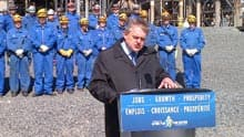 Premier David Alward called the west-east pipeline proposal an historic initiative. Alward made the comments in front of the Irving Oil refinery in Saint John on Tuesday.