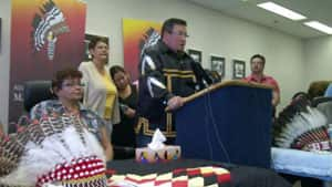 AMC Grand Chief Derek Nepinak, with family members, spoke about the arrest Monday.