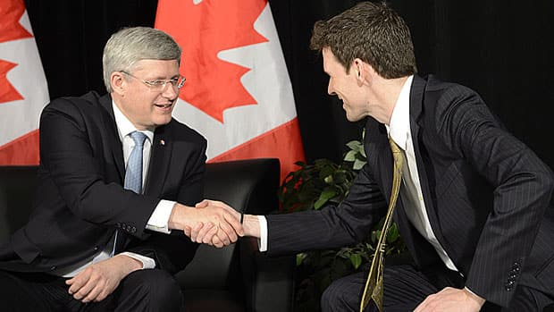 Dr. Andrew Bennett, right, was introduced as ambassador for the Office of Religious Freedom by Prime Minister Stephen Harper during an event Tuesday at a mosque in Maple, Ont., north of Toronto.