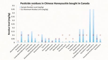 Greenpeace tested a number of herbal products sold in Chinatowns in Toronto and Vancouver, including Chinese honeysuckle. It said test results in one honeysuckle sample showed residues from 25 pesticides, and levels that exceeded EU concentration limits for seven of those chemicals.