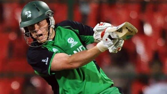 Kevin O'Brien of Ireland hits en route to record century at M. Chinnaswamy Stadium in Bangalore, India, on Wednesday.