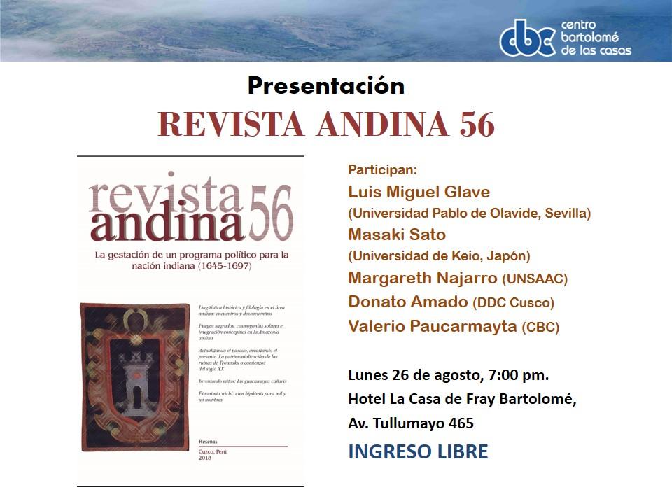 """Presentación de """"Revista Andina N° 56"""", en Cusco"""