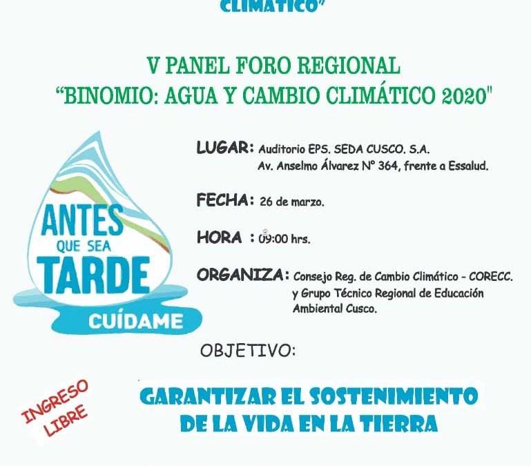 "V Panel Foro Regional: ""Binomio: Agua y cambio climático 2020"""