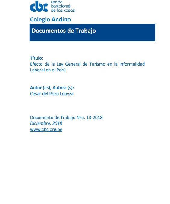 Efecto de la Ley General de Turismo en la Informalidad Laboral en el Perú