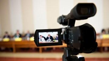 Video camera recording conference