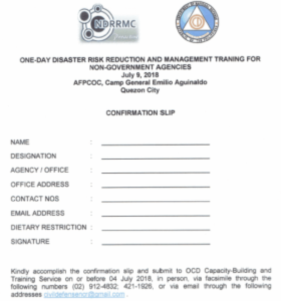 Invitation Letter from OCD: One-Day Basic Disaster Risk Reduction