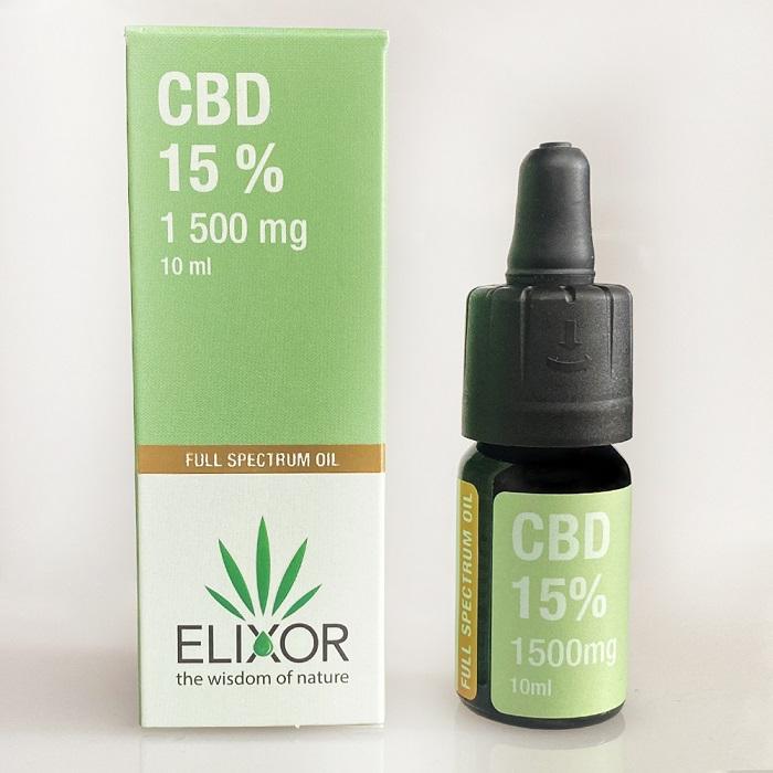 CBD olej/CBD kvapky Elixor, 15 %, 1500mg