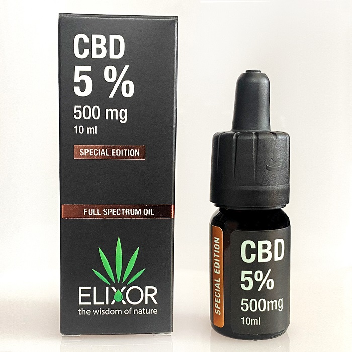 CBD olej/CBD kvapky Elixor, 5 %, 500mg