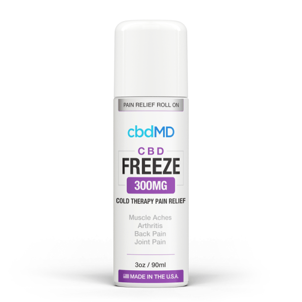 CBDmd Freeze Pain Relief cbdMD's Freeze Pain Relief Gel combines the proven pain-relief properties of menthol with the natural power of domestically sourced CBD. This CBD Topical comes in two convenient options for users: a travel-friendly, fast-acting roll-on applicator or a squeeze-tube for controlled dispensing. Both provide non-greasy, deep skin absorption and only contain premium CBD from U.S. grown, non-GMO hemp.