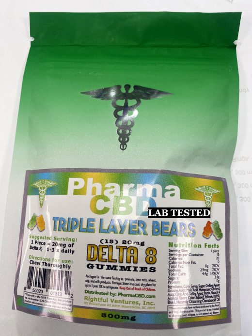 Hemp Derived Delta-8 THC Triple Layer Bear Edibles 15 Count