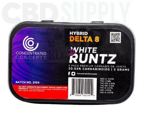 White Runtz D8 Wrapped Pre-Roll (5 Pack)