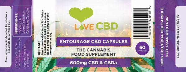 Love CBD Entourage Capsules label