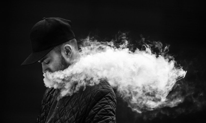 Guy Vaping - Black and White