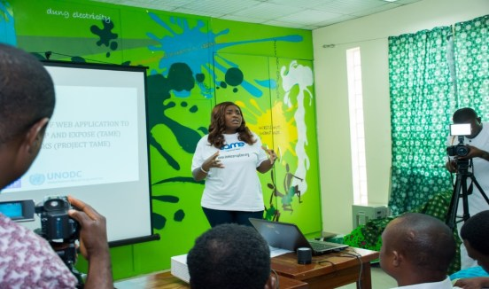 Miss Doyin Olawaiye, Project Manager, welcoming participants to the Public Presentation of the Web Application, which held in Abuja on August 18, 2017.