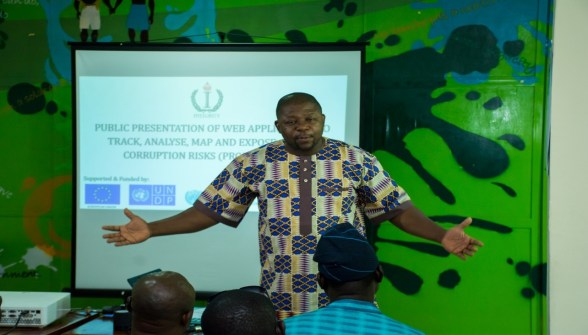 Mr. Babatunde Oluajo, Anti-Corruption Expert, introducing Project TAME to participants and making a call to action for the fight against corruption to be done using preventive approaches.