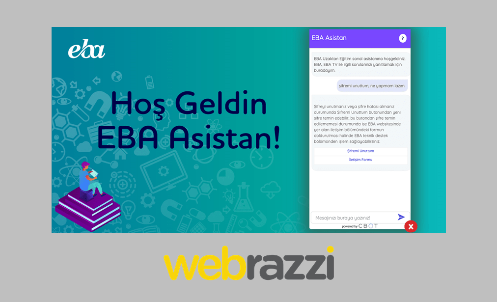 "CBOT launched an AI based chatbot ""EBA Asistan"" in collaboration with the Turkish Republic Ministry of Education"