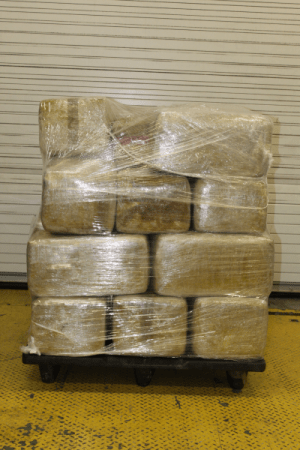 Packages containing 576 pounds of marijuana seized by CBP officers at World Trade Bridge