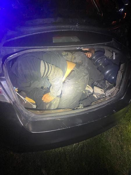 Migrants concealed in trunk.