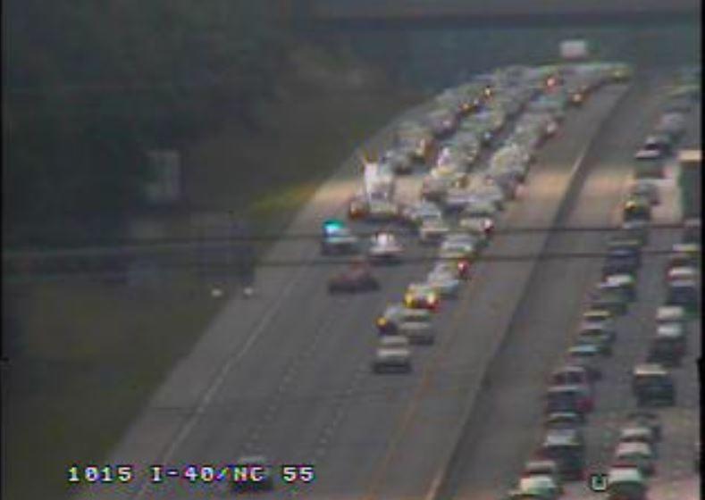 Vehicle crash closes lanes on eastbound I-40 near NC 55