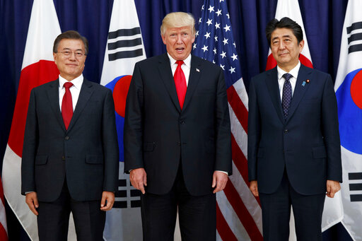 Donald Trump, Moon Jae-in, Shinzo Abe
