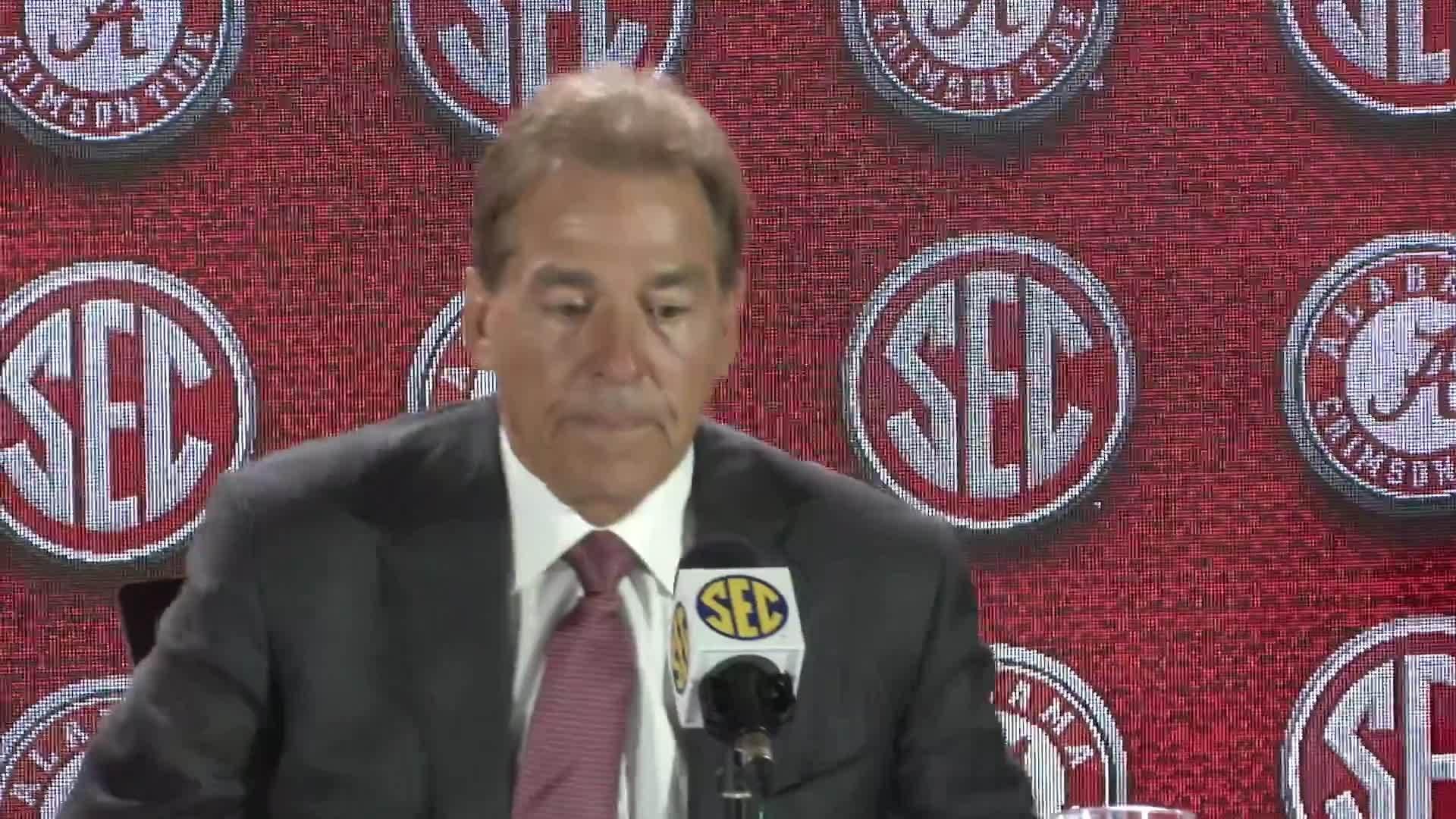 Watch what Alabama head coach Nick Saban had to say at SEC Media Days 2018