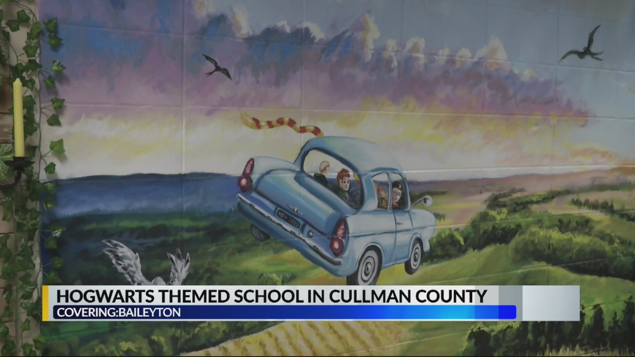 Hogwarts themed hallway and classrooms at Cullman County school
