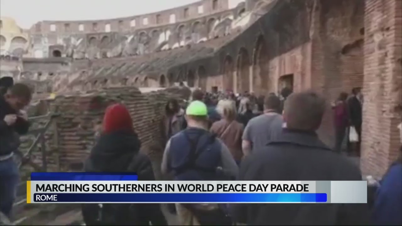 Jacksonville State University performs at world peace day parade