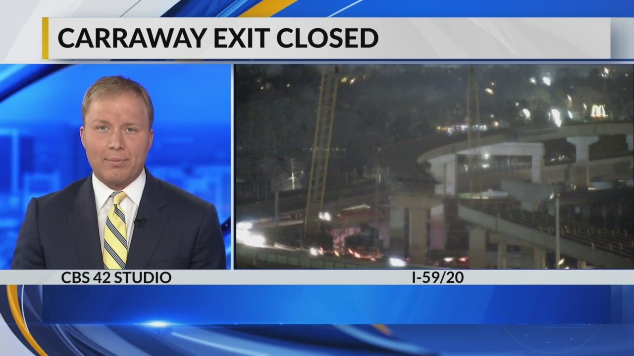 Carraway Exit closed Wednesday-Thursday