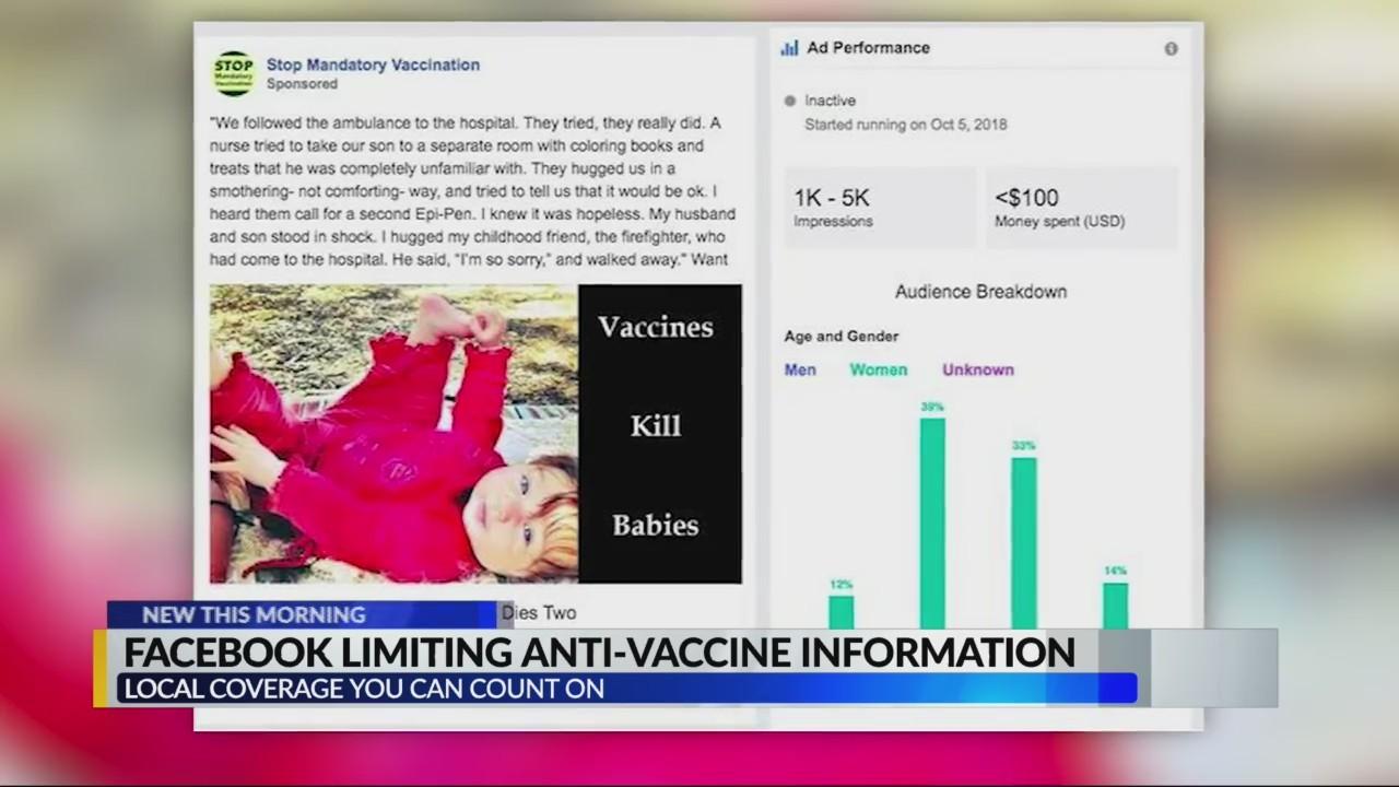 Facebook to censor anti-vaccine blog posts