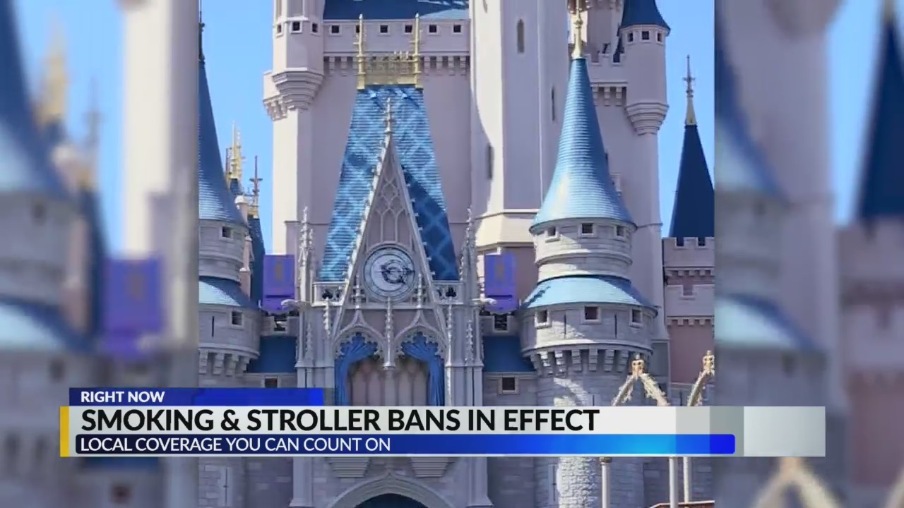 Disney theme parks ban smoking and strollers