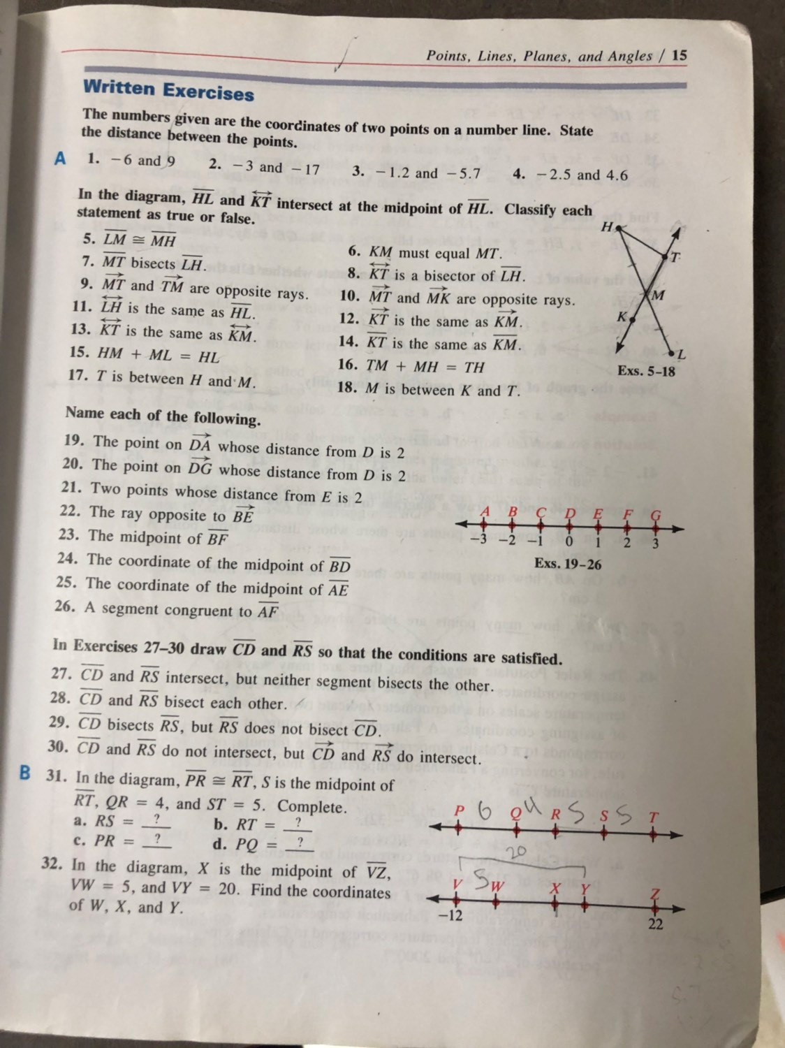 Points Lines Planes And Angles Worksheet Answers