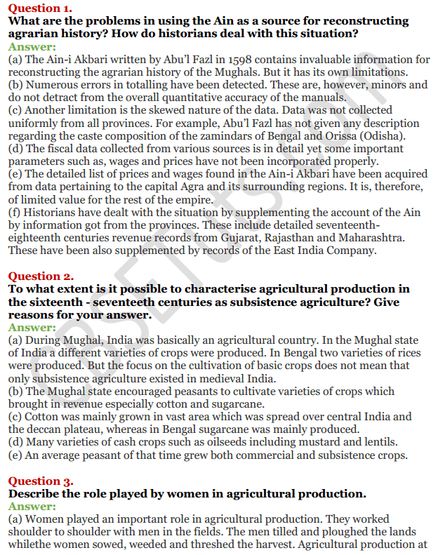 NCERT Solutions For Class 12 History Chapter 8 Peasants, Zamindars and the State Agrarian Society and the Mughal Empire 1