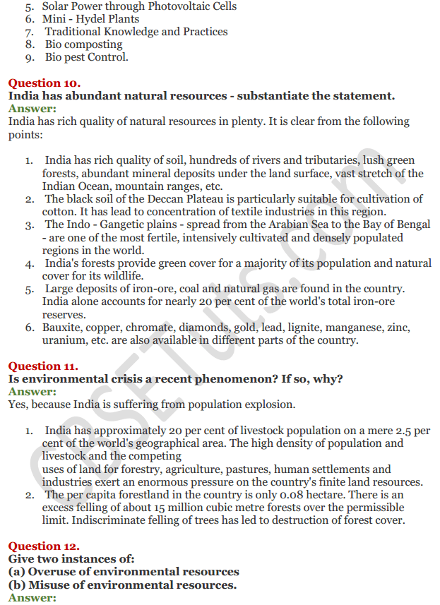 NCERT Solutions for Class 11 Chapter 9 Environment Sustainable Development 6