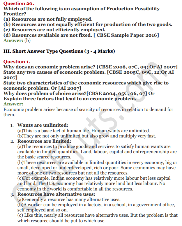 NCERT Solutions for Class 12 Micro Economics Chapter 1 Introduction