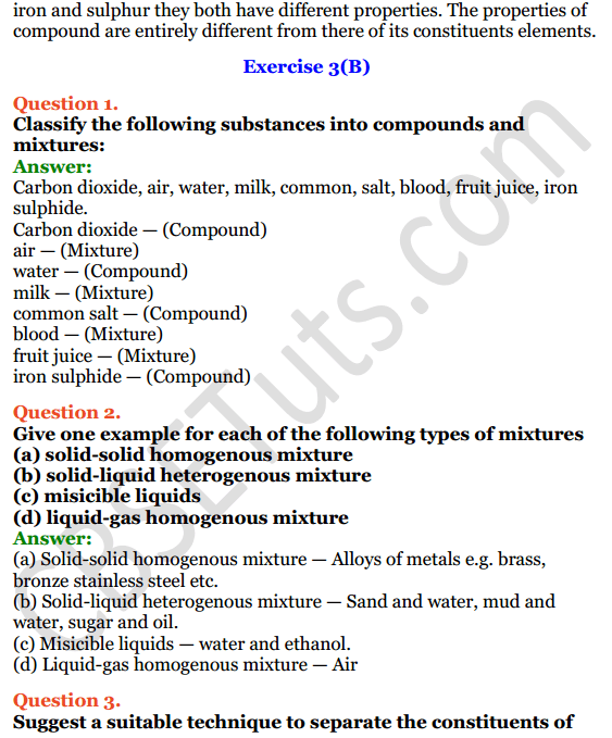 Selina Concise Chemistry Class 8 ICSE Solutions Chapter 3 Elements, Compounds and Mixtures 4