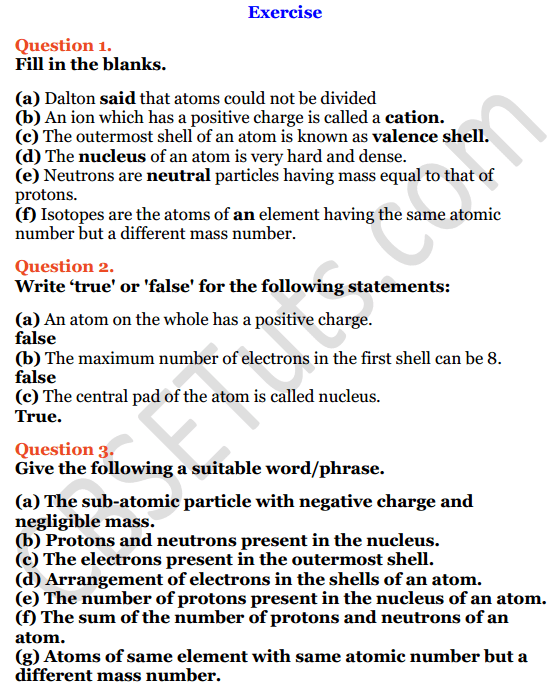 Selina Concise Chemistry Class 8 ICSE Solutions Chapter 4 Atomic Structure 1