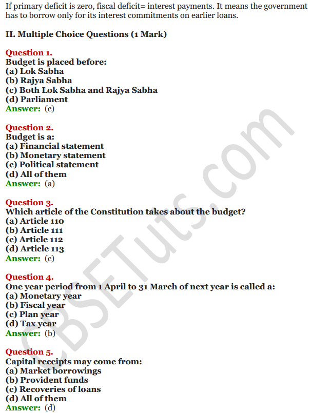NCERT Solutions for Class 12 Macro Economics Chapter 8 Government Budget and the Economy 10