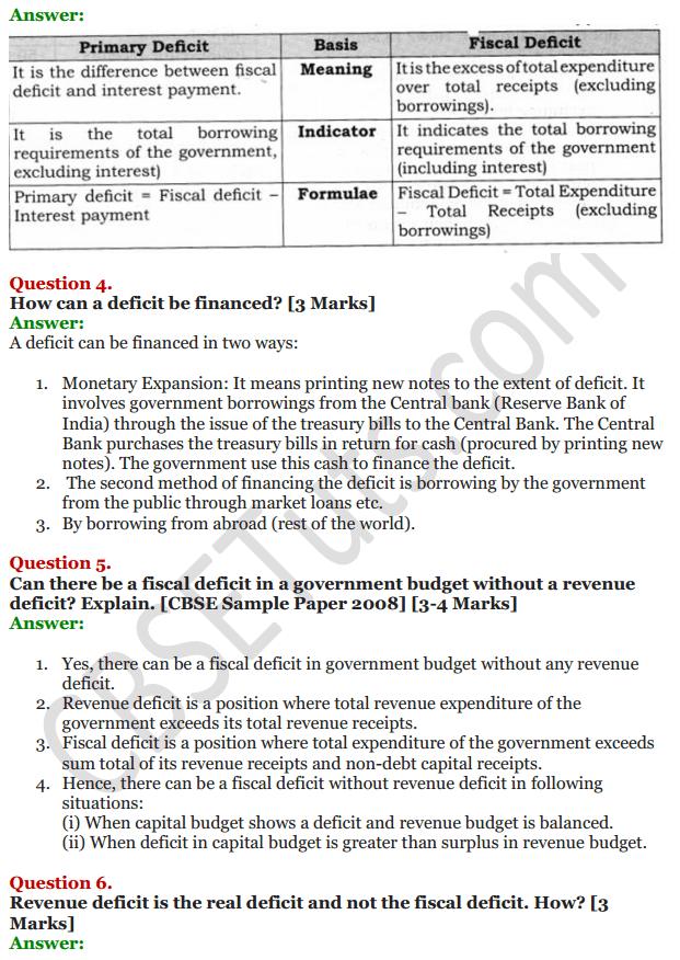NCERT Solutions for Class 12 Macro Economics Chapter 8 Government Budget and the Economy 42
