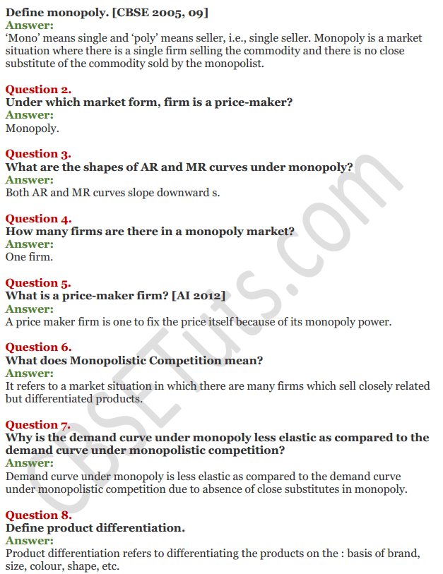 NCERT Solutions for Class 12 Micro Economics Chapter 11 Non-Competitive Market 4