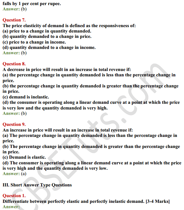 NCERT Solutions for Class 12 Micro Economics Chapter 4 Elasticity of Demand 10