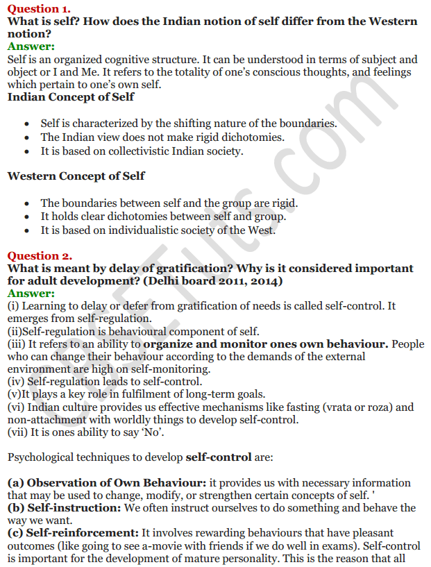 NCERT Solutions for Class 12 Psychology Chapter 2 Self And Personality 1