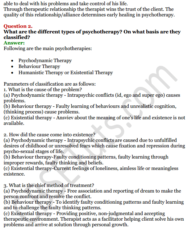 NCERT Solutions for Class 12 Psychology Chapter 5 Therapeutic Approaches And Counselling 2